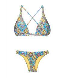 Halter neck triangle bikini with vintage-style print - SARI COOL NEW