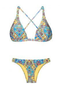 Halter neck triangle bikini with vintage-style print - SARI COOL NEW