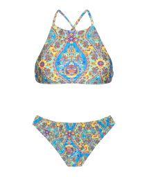 Crop top bikini with vintage-style blue print - SARI CROPPED