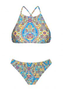 Bikini crop top imprimé bleu style vintage - SARI CROPPED