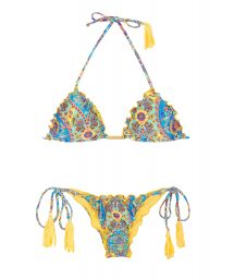 Scrunch bikini with wavy edges and yellow tassels - SARI FRUFRU