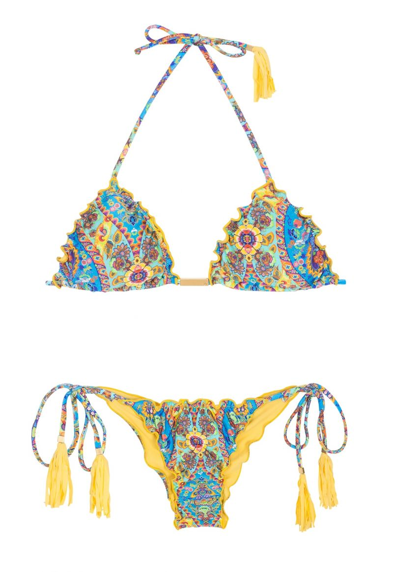 Scrunch bikini with wavy edges and yellow tassels - SARI FRUFRU