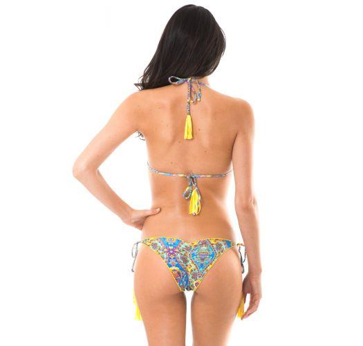ביקיני בד מכווץ עם שוליים מסולסלים ופונפונים מבצבע צהוב - SARI FRUFRU
