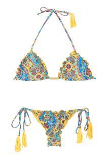 Sarı püsküllü dalgalı kenarlı kırışık string bikini - SARI FRUFRU FIO