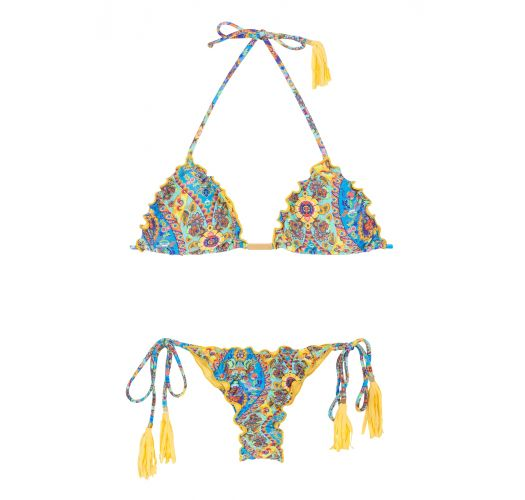 Scrunch string bikini with wavy edges and tassels - SARI FRUFRU FIO