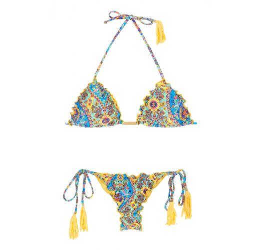 Scrunch string bikini with wavy edges and tassels - SARI FRUFRU FIO