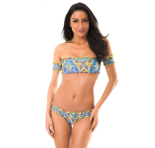 Off-shoulder bandeau bikini with wavy edges - SARI OFFSHOULDER