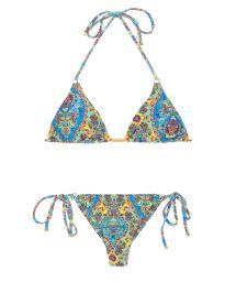 Thong bikini with vintage floral print - SARI TRI FIO