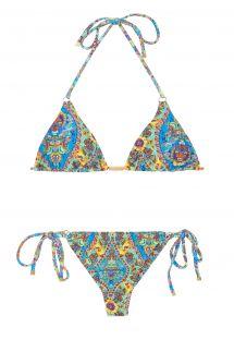 Retro stili, çiçek desenli string bikini - SARI TRI FIO