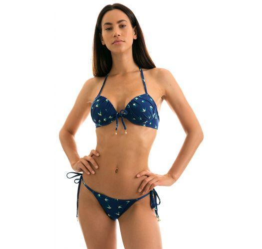 Push-Up-Balconette-Bikini blau, Vogelmotiv - SEABIRD CHEEKY