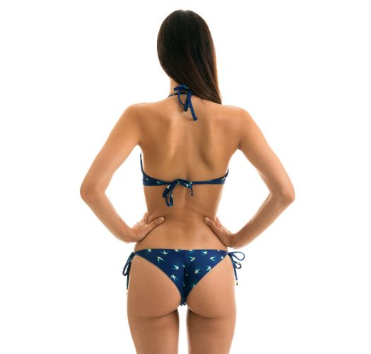 Navy push-up bikini with bird pattern - SEABIRD CHEEKY