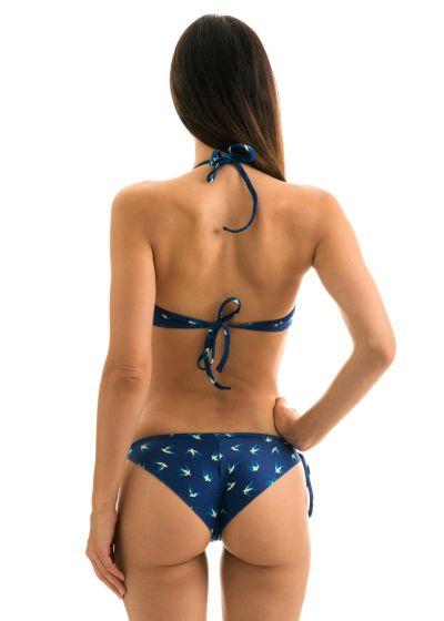 Navy side-tie scrunch bikini - birds pattern - SEABIRD CHEEKY COMFORT