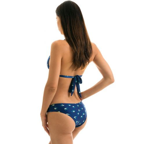 Navy blue bikini with halter top and birds motive - SEABIRD CORTINAO