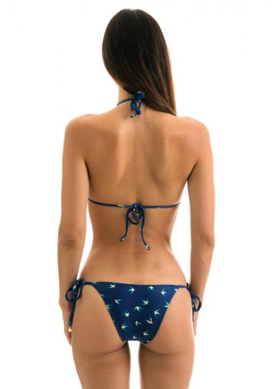 Navy Brazilian side-tie bikini in birds print - SEABIRD INVISIBLE