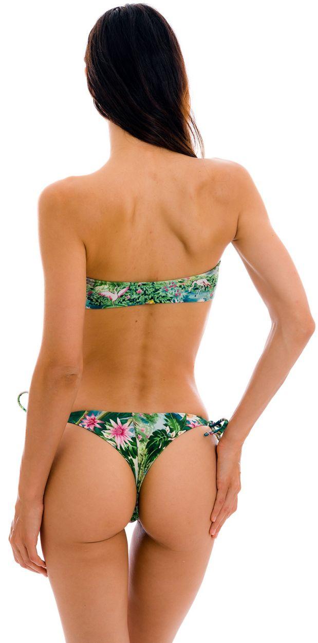 Bikini bandeau et string double lien tropical vert/bleu - SET AMAZONIA BANDEAU-RETO FIO-TIE
