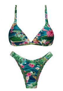 Bikini triangle fixe et tanga high leg tropical vert/bleu - SET AMAZONIA TRI-FIXO HIGH-LEG