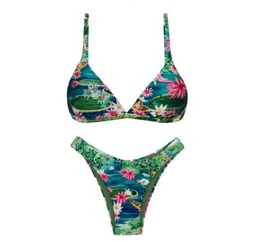 Driehoekige bikinitop en high leg tangabroekje tropisch groen/blauw - SET AMAZONIA TRI-FIXO HIGH-LEG