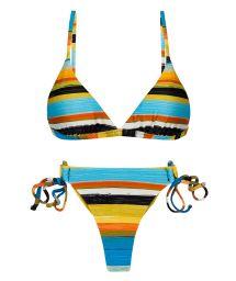 Double side thong bikini in colorful stripes - SET ARTSY TRI-FIXO FIO-TIE