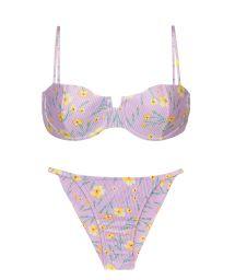 Textured pastel floral cheeky bikini with balconette top - SET CANOLA BALCONET CHEEKY-FIXO