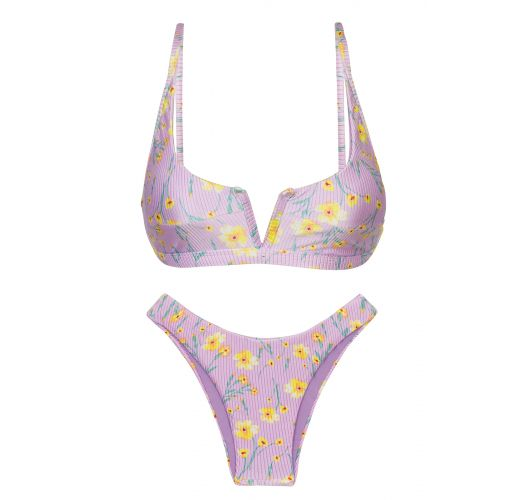 Purple high leg bikini with V bralette top in flowers - SET CANOLA BRA-V HIGH-LEG