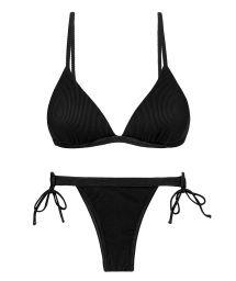Black ribbed double side-tie bikini with triangle top - SET COTELE-PRETO TRI-FIXO RIO