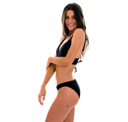 Ribbed black laced back bralette bikini - SET COTELE-PRETO TRI-TANK COMFY