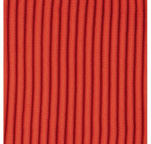 Red ribbed double side-tie bikini with triangle top - SET COTELE-TOMATE TRI-FIXO RIO