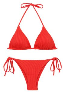 Red ribbed side-tied Brazilian bikini - SET COTELE-TOMATE TRI-INV IBIZA