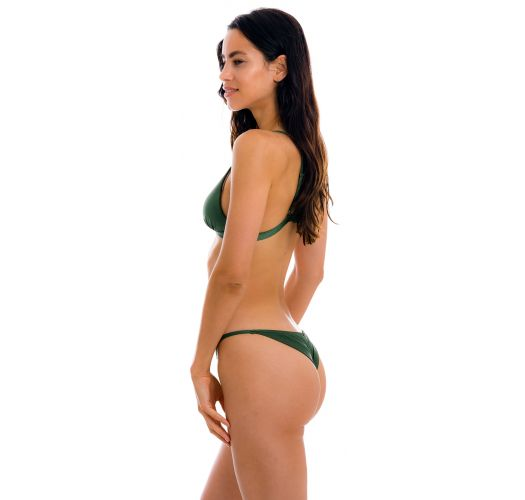 Ciemnozielone brazylijskie bikini o wąskich bokach - SET CROCO TRI-FIXO CHEEKY-FIXA