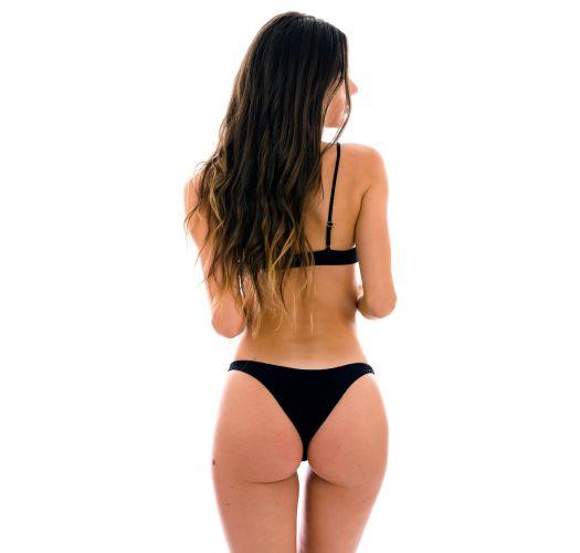 Bikini negro de talle alto con tela en relieve y parte superior con lazo frontal - SET DOTS-BLACK MILA HIGH-LEG