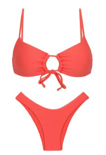 Embossed textured coral pink high leg bikini with front-tie top - SET DOTS-TABATA MILA HIGH-LEG