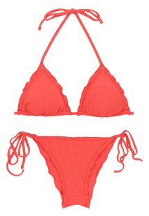 Biquíni franzido vermelho-coral texturizado c/ rebordos ondulados - SET DOTS-TABATA TRI FRUFRU