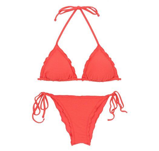Textured coral scrunch bikini with wavy edges - SET DOTS-TABATA TRI FRUFRU