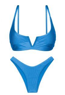 Textured blue high leg bikini with V bralette top - SET EDEN-ENSEADA BRA-V HIGH-LEG