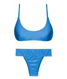Wide waist textured blue bikini with bralette top - SET EDEN-ENSEADA BRALETTE RIO-COS