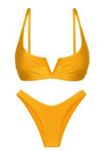Textured yellow high leg bikini with V bralette top - SET EDEN-PEQUI BRA-V HIGH-LEG