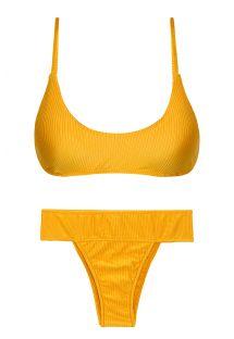 Wide waist textured yellow bikini with bralette top - SET EDEN-PEQUI BRALETTE RIO-COS
