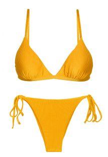 Brazilian Bikini mit Seitenschnüren orangegelb texturiert - SET EDEN-PEQUI TRI-FIXO IBIZA