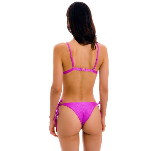 Textured magenta pink side-tie bikini - SET EDEN-PINK TRI-FIXO IBIZA