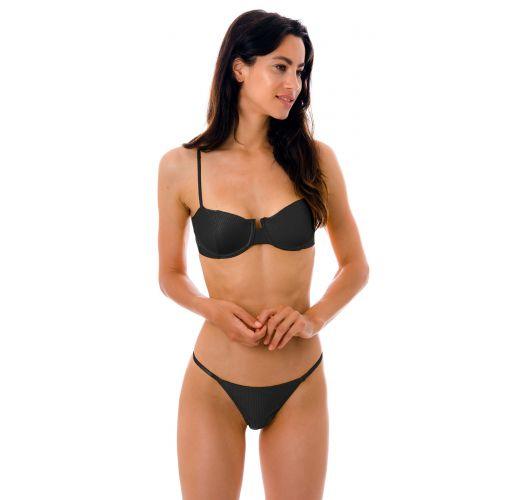 Textured black cheeky Brazilian bikini with thin sides - SET EDEN-PRETO BALCONET CHEEKY-FIXA