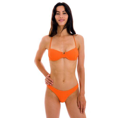 Textured orange balconette bikini with crossed straps - SET ST-TROPEZ-TANGERINA BALCONET ESSENTIAL
