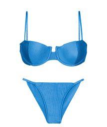Bikini brésilien cheeky bleu texturé côtés fins - SET EDEN-ENSEADA BALCONET CHEEKY-FIXA