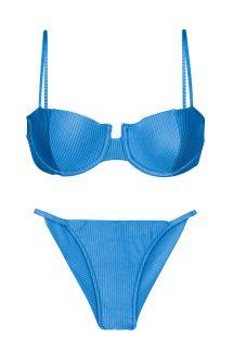 Getextureerde blauwe Braziliaanse cheeky bikini met smalle zijbandjes - SET EDEN-ENSEADA BALCONET CHEEKY-FIXA