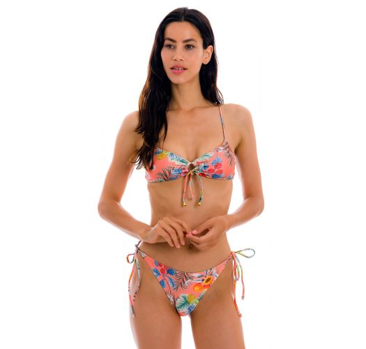 Coral pink printed bikini with front-tie top - SET FRUTTI MILA IBIZA-COMFY