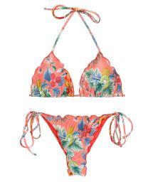 Bikini string scrunch imprimé rose corail bords ondulés - SET FRUTTI TRI FRUFRU-FIO
