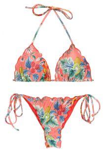 Scrunch-String-Bikini korallenrosa, Rand gewellt - SET FRUTTI TRI FRUFRU-FIO