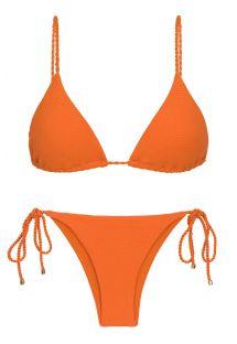 Orange textured Brazilian bikini with twisted ties - SET ST-TROPEZ-TANGERINA TRI-INV IBIZA