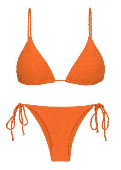 Bikini brésilien orange texturé liens torsadés - SET ST-TROPEZ-TANGERINA TRI-INV IBIZA