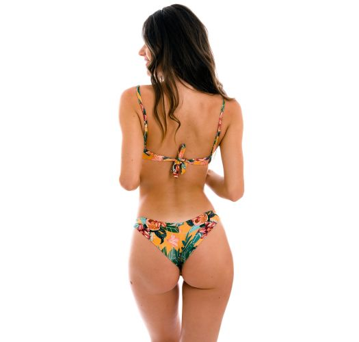 Orange yellow underwired bralette bikini in floral print - SET LIS BALCONET-INV NICE