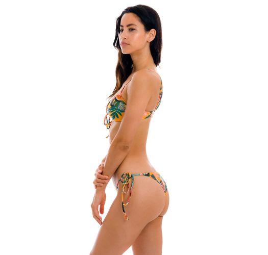Orange & yellow floral tie-up Brazilian bikini - SET LIS MILA IBIZA
